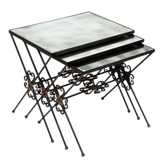 1960s French Wrought Iron Nesting Tables - Set of 3 For Sale