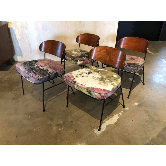 Paul Laszlo for Pacific Iron Walnut and Iron Chairs For Sale - Image 9 of 9