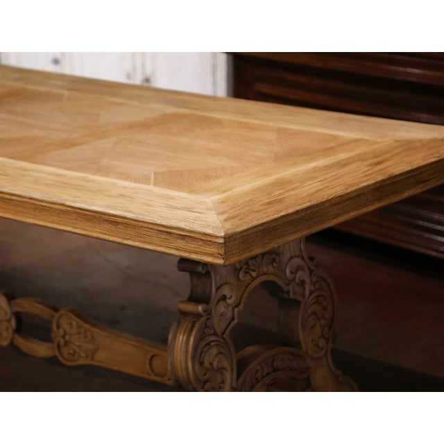 Early 20th Century Early 20th Century French Carved Bleached Oak Marquetry Trestle Dining Table For Sale - Image 5 of 13