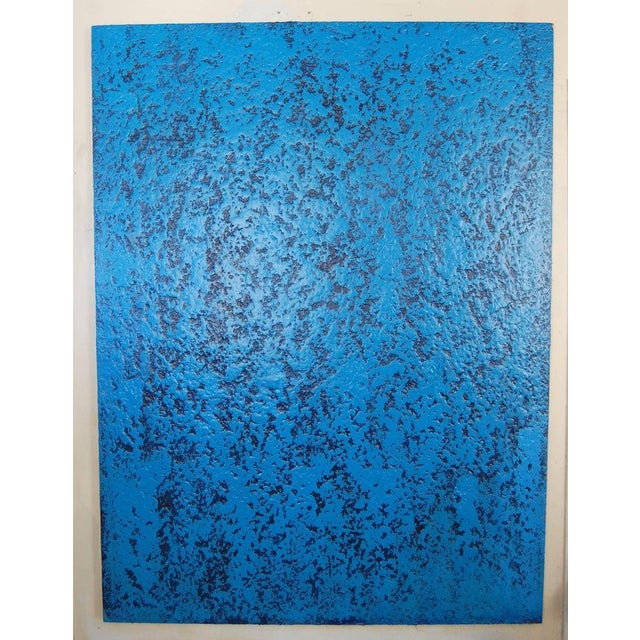 Blue Navy, large abstract. Large dynamic royal blue and navy heavy textured acrylic on canvas can be hung vertical or...
