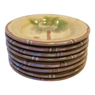 Hand Painted Bora Bora Tiki Palm Tree Tropical Plates - Set of 8