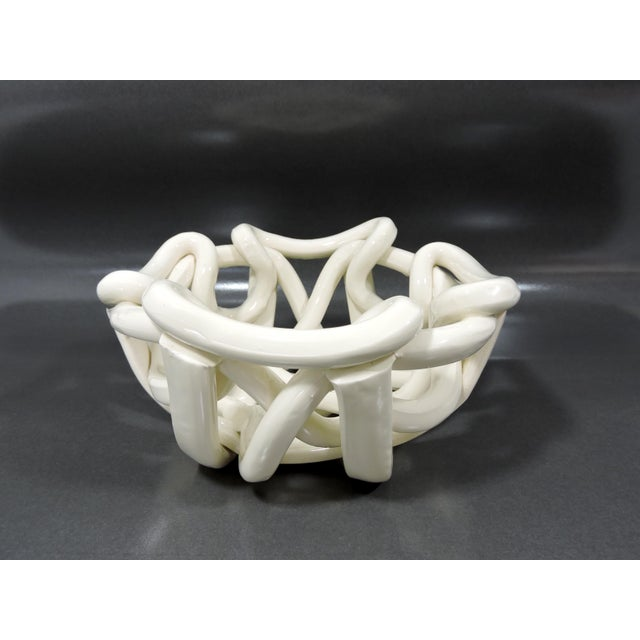 Ceramic 20th Century Boho Chic Hand Crafted Open Weave Ceramic Cream Bowl For Sale - Image 7 of 7