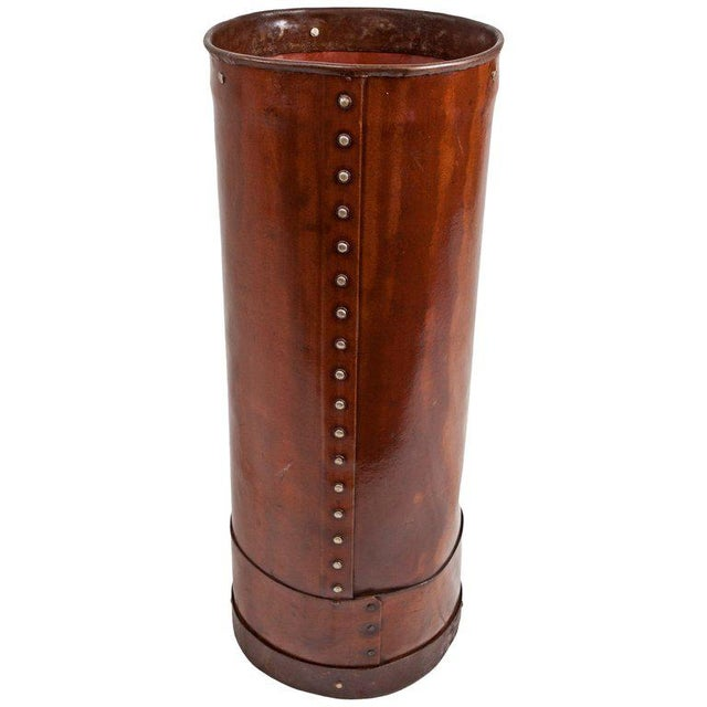 Mid 20th Century Cured Leather Umbrella Stand For Sale - Image 5 of 5