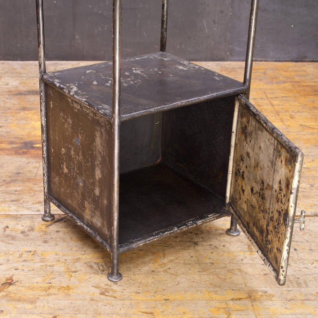 Industrial Alms Petite Industrial Steel and Slate Bedside Table With Cabinet For Sale In Washington DC - Image 6 of 7