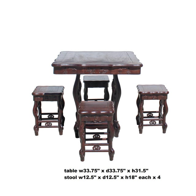 Brown Chinese Dark Brown Huali Rosewood Square Table Chair 5 Pieces Set For Sale - Image 8 of 8