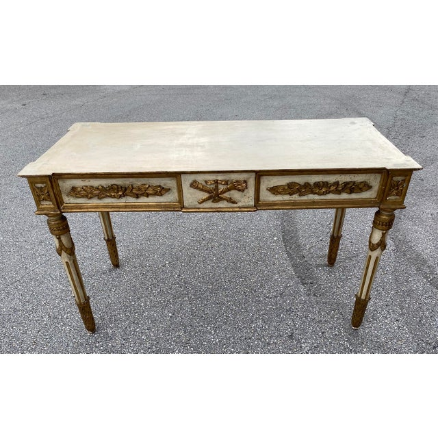 Wood Italian Neoclassical Gilt-Wood Console, Marble Top For Sale - Image 7 of 9