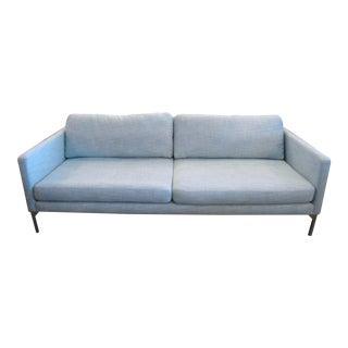 Chrome & Light Aqua Blue Sofa