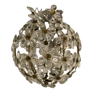 1930s French Bagues Crystal Flowers Light Fixture For Sale