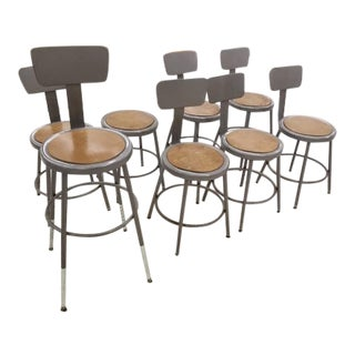 Vintage Steel Table, Counter or Bar Stools With Backs; Adjustable Height; Lot of 13 for One Price For Sale