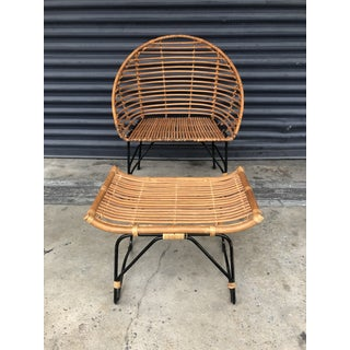 Stick Reed Rattan and Iron Chair and Ottoman Set Preview