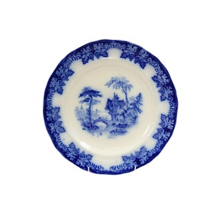 19th-C. Blue Grapevine-Border Plate