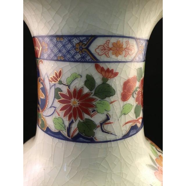 Japanese Floral and Bird Crackle Glazed Vase For Sale - Image 10 of 13