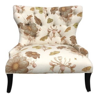 Horchow Garden Print Tufted Back Chair For Sale