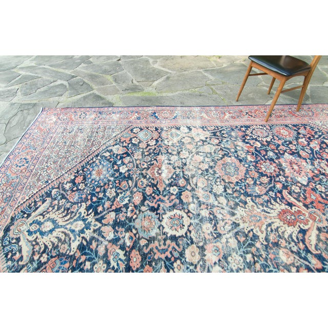 """House of Séance - 1920s Vintage Mahal Geometric Medallion Wool Hand-Knotted Rug - 8'6"""" X 11'7"""" For Sale - Image 4 of 11"""