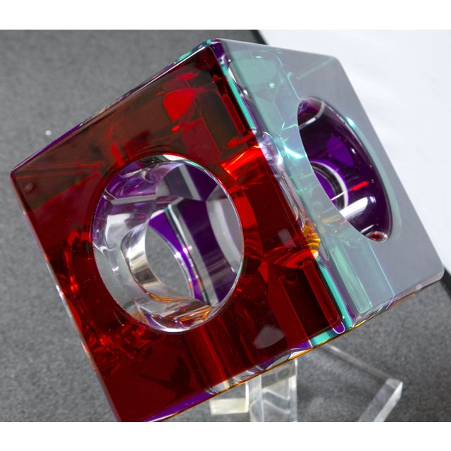 Hollow Colored Acrylic Cube Sculpture on Base For Sale In New York - Image 6 of 8