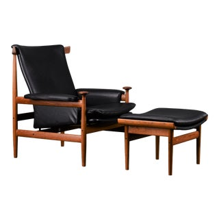 1960s Finn Juhl 'Bwana' Danish Modern Black Leather Chair and Ottoman For Sale