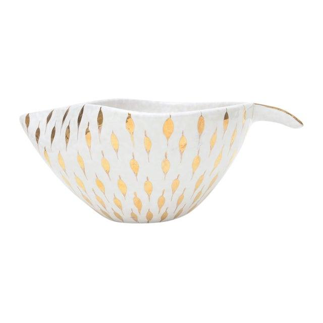 Aldo Londi for Bitossi Gold Painted White Ceramic Bowl Vintage For Sale