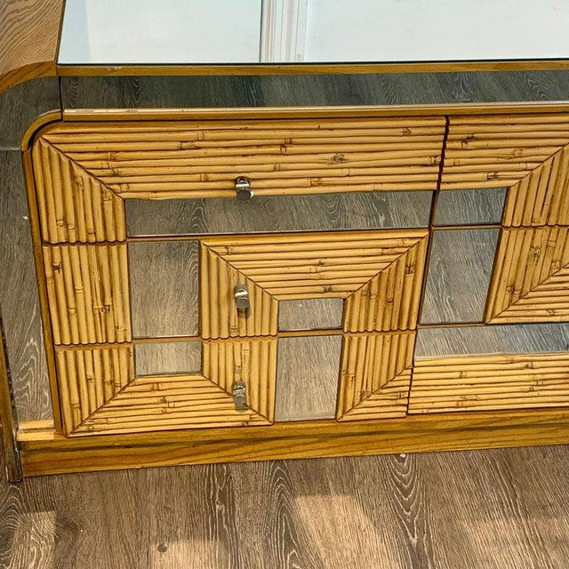 Fabulous Midcentury Mirror Inlaid Segmented Bamboo Dresser or Credenza For Sale - Image 9 of 12