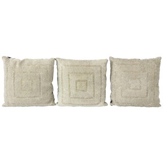 1960s Vintage Beaded Pillows - Set of 3 For Sale