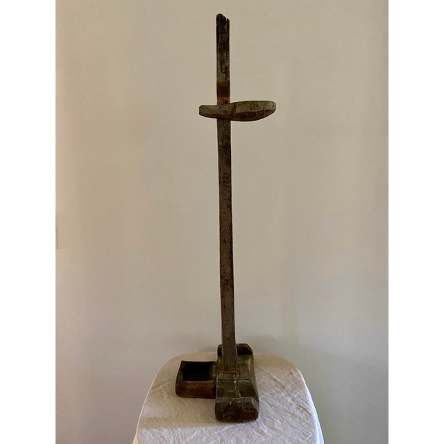 Asian Antique Antique Oil Lamp Stand For Sale - Image 3 of 11