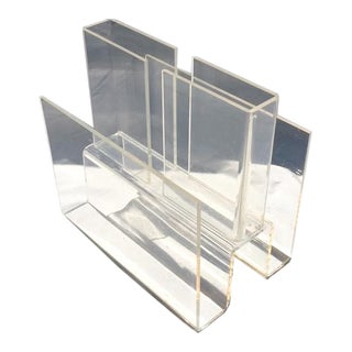 1970s Modern Lucite Magazine Rack For Sale