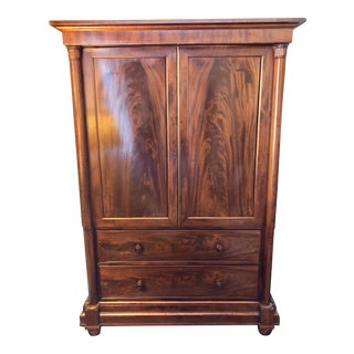 Early 19th Century English Regency Figured Mahogany Linen Press For Sale