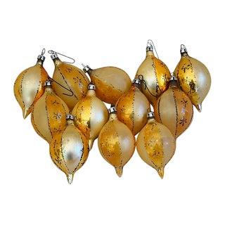 Mid-Century Gold Christmas Ornaments W/Box - Set of 12