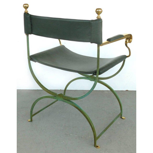 1980s Pair of Brass Director's Chairs by Valenti, Spain For Sale - Image 5 of 11