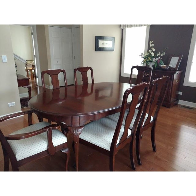 Traditional Harden Solid Cherry Oval Table & Chairs Dining Set For Sale - Image 3 of 5