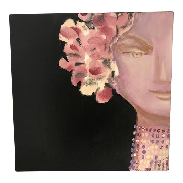 Art Deco Style Floral Goddess Portrait Painting - Image 1 of 4