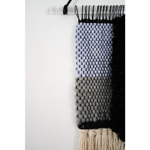 Handwoven Blue, Green, Tan, Grey, Black, and Cream Wall Hanging - Image 6 of 6
