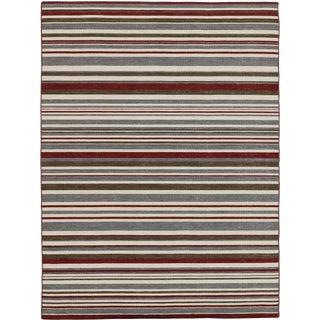 Elana Striped Gray Flat-Weave Rug 8'x10' For Sale