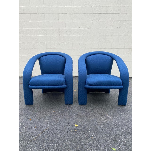 Carson's Blue Upholstred Sculpture Chairs - a Pair For Sale - Image 12 of 12