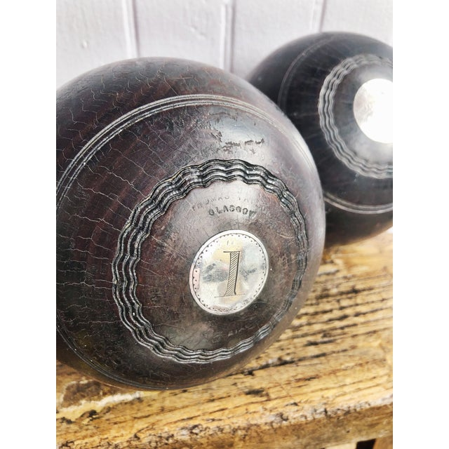 Silver Pair of Antique 1911 Sterling & Wood Trophy Lawn Bowling Balls For Sale - Image 8 of 10