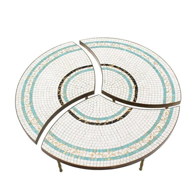 """Very nice Mid-Century Modern round bronze and mosaic coffee table consisting of 3 """"slices""""."""