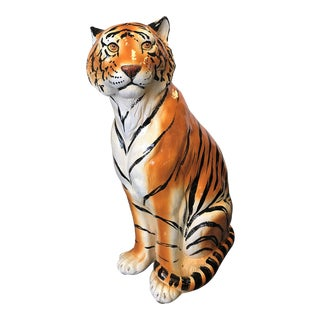 Vintage 1970s Large Scale Hand Painted Ceramic Tiger, Italy For Sale