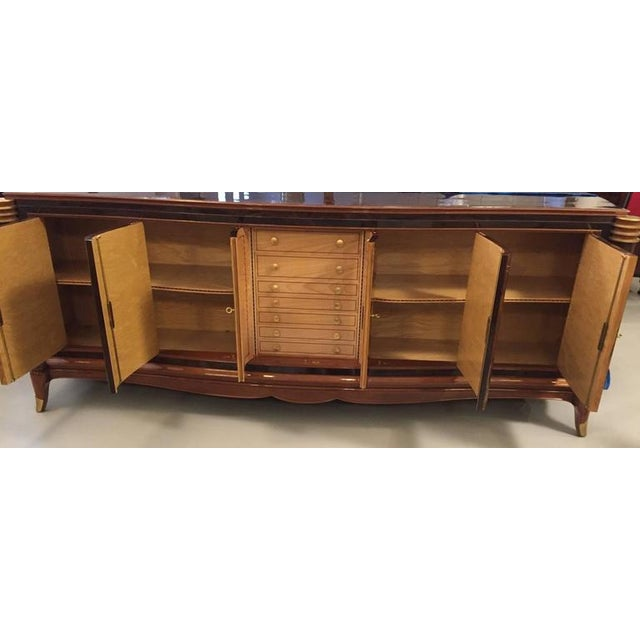Gold Jules Leleu Style French Art Deco Six-Door Buffet For Sale - Image 8 of 10