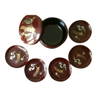 Mid-Century Japanese Kyowa Lacquered Coasters in Box - Set of 5 For Sale