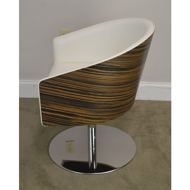 Wood White Leather & Zebra Wood Barrel Back Pair Chrome Pedestal Swivel Lounge Chairs by Cape (F) For Sale - Image 7 of 13