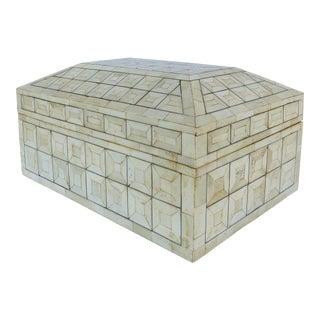 Tesselated Bone Coffered Wood Hinged Box