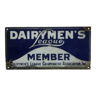 "1935 Vintage Porcelain Sign ""Dairymen's League - Member"" For Sale"