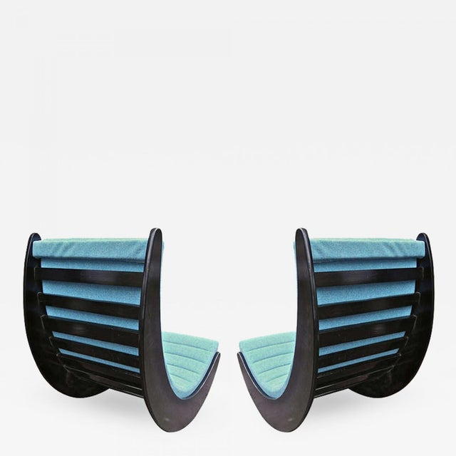 Textile Verner Panton Rarest Pair of Black Rocking Chairs Newly Covered in Kvadrat Cloth For Sale - Image 7 of 7