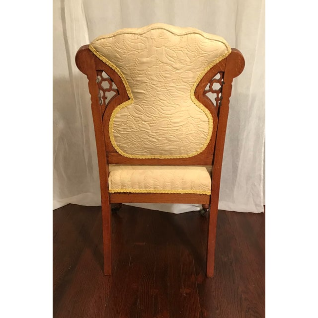 Victorian Buttercream Charles Lock Eastlake Styled Carved Victorian Era Accent Chair For Sale - Image 3 of 6