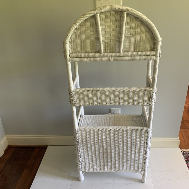 1970s Shabby Chic White Woven Wicker Etageres Bookcase For Sale In Raleigh - Image 6 of 9