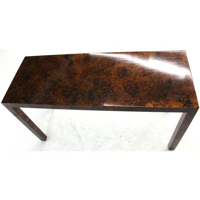 Lacquer Mid Century Modern Tortoise Lacquer Finish Console Table For Sale - Image 7 of 9