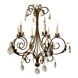 Currey & Co. Large Transitional Iron and Crystal Chandelier For Sale