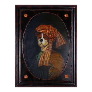 Oil Painting of Dog with Turban For Sale