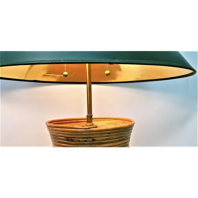 Gabriella Crespi Style Large Pencil Reed Table Lamps - a Pair - Restored - Mid Century Modern Palm Beach Boho Chic Wicker Rattan Seagrass For Sale - Image 10 of 13