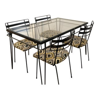 1950s Mid-Century Modern Iron Dining Set - 5 Piece Set For Sale