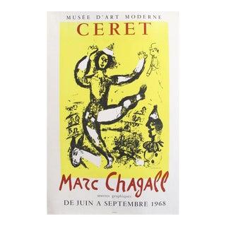 1968 Marc Chagall Exhibition Poster, Musée d'Art Moderne De Ceret For Sale
